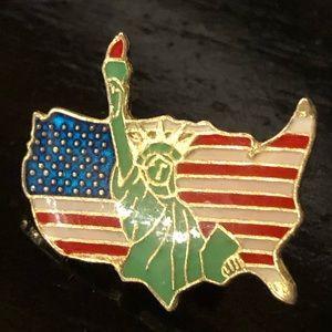 Patriotic lady liberty USA pin
